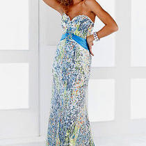 Nwt Blush 9320  Blue Multi Evening Formal Prom Gown 2 Photo