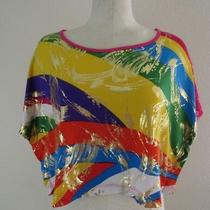 Nwt Blush Apparel Junior's Size Small Cropped Top Belly Shirt Multi Color Photo