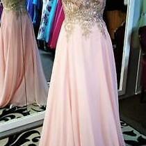 Nwt Blush Light Pink Gold Off-Shoulder Embroidered Bridesmaid Cruise Dress S Photo