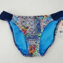 Nwt Blush Profile Mid Rise  Swimsuit Tab Side Bikini Bottom Sz S Small  Blue 44 Photo