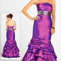 Nwt Blush Prom 9221 Grape Iridescent Taffeta Jeweled Fit N Flair Size 10 Prom Photo