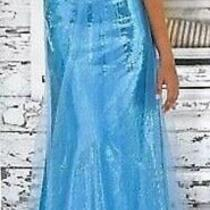 Nwt Blush Prom Blue Shimmer Embellished Pageant Evening Cruise Party Dress 8 Photo
