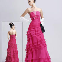 Nwt Blush Prom Fuchsia Hot Pink Chiffon Tiered Gown Dress Free Ship 14 Sale Photo