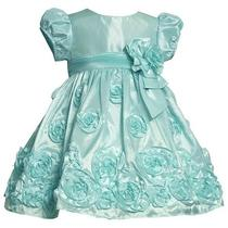 Nwt  Bonnie Jean Aqua Taffeta Rose Dress 2t  Wedding Birthday Pageant Party Photo