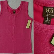 Nwt Boo Gemes Anthropologie Hot Pink Cotton/spandex Lurex Shimmer Tank Top Small Photo