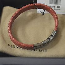 Nwt Bottega Veneta Intrecciato 925 Silver/leather Wrap Bracelet Italy 695 Photo