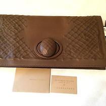 Nwt Bottega Veneta Ricamo Rete Fold-Over Turnlock Clutch Bag Brown Soldout 1690 Photo