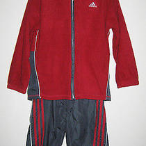 Nwt Boys Adidas 2 Piece Pants Cotton Jacket Outfit Set Fleece Red Gray Size 7 Photo