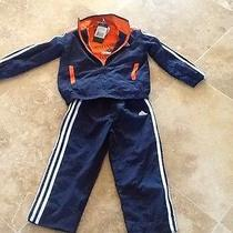 Nwt Boys Adidas 3pc Outfit Set Track Suit Jacket & T-Shirt & Pants Size 4t Blue Photo