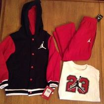 Nwt Boys Nike Air Jordan Shirt Hoodie Jacket Pants Outfit Set 4t New Clothes 3pc Photo
