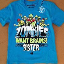 Nwt Boys Size 6 Shirt Blue Zombie Brains Glow in the Dark Sisters Tee New Photo