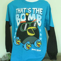 Nwt Boys T-Shirt M 10-12 L/s Angry Birds Aqua Black 100% Cotton That's the Bomb Photo