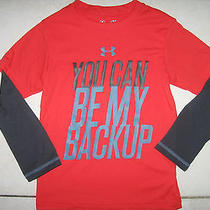 Nwt Boys Under Armour Ua Pre-School You Can Be My Backup Slider Shirt Red Sz 4t Photo