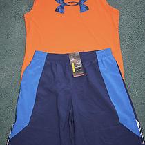 Nwt Boys Under Armour Xl Navy Blue/orange/royal Blue Tank Top Shorts Set Yxl Photo