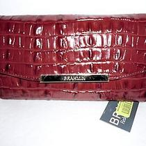 Nwt Brahmin Cordovan La Scala Croc Embossed Leather Checkbook Wallet R195 Photo