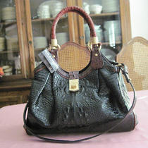 Nwt Brahmin Elisa Black Tri-Color Croco Embossed Hobo - Msrp 395.00 Photo