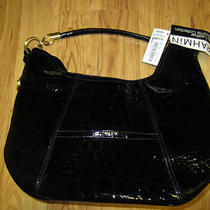 Nwt Brahmin Womens Purse Hobo Style Handbag Black Glossy Leather Croco Melbourne Photo