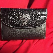 Nwt Brighton Black Tri-Fold Wallet 4 Credit Card Slots Picture Id W/strap Photo