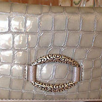 Nwt Brighton Cher Sterling Silver Gray Croc Embossed Leather  Wallet Photo