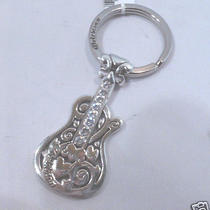 Nwt Brighton Electric Guitar Silver Plated Crystal Key Fob Chain Ring E13560 Photo