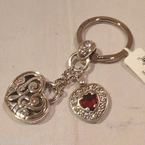 Nwt Brighton Endless Heart Silver Plated Key Fob Chain Ring E14090 Photo