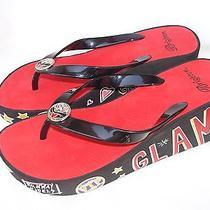 Nwt Brighton Glam Black Platform Wedge Flip Flop Sandals Size 8 Photo