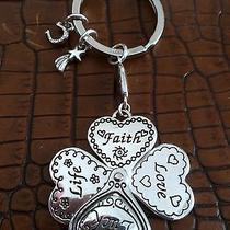 Nwt Brighton Lucky Clover & Heart Silver Plated Key Chain  Photo
