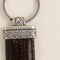 Nwt Brighton Newport Key Fob Brown Brown and Silver Key Ring Leather Photo