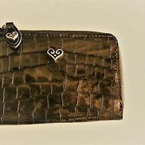 Nwt Brighton Pewter B Wishes Shine Leather W/key Ring Coin Purse 58   Photo