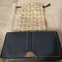 Nwt Brighton Pretty Tough Rockmore Canyon Blue Large Leather Wallet Msrp 140 Photo