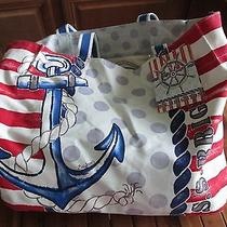 Nwt Brighton S. S. Sail Cruise Handprinted  Beach Canvas Tote Bag Photo