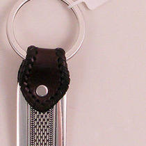 Nwt Brighton Salina Key Fob Black Black and Silver Key Ring Leather Photo