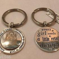 Nwt Brighton Shopping Retail Therapy Silver Plated Key Chain Ring Fob E14590 Photo