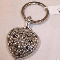 Nwt Brighton Silver Plated Floral Heart Key Ring Chain Fob E12192 Photo