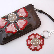 Nwt Brighton Spot of Roses Strap Wallet Key Ring Fob Keyring Set Patent Leather Photo