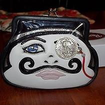 Nwt Brighton Sugar Daddy Mustache Face Cross Body Bag W/ Chain Strap Handbag Wow Photo