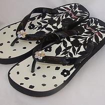 Nwt Brighton Vine Black Silver Accent Wedge Flip Flop Sandals Size 9 Photo
