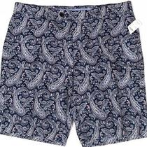 Nwt Brooks Brothers Mens Navy Paisley Linen/cotton Bermuda Casual Shorts Sz 33 Photo