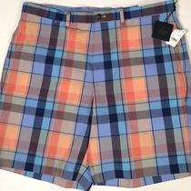 Nwt Brooks Brothers Mens Orange/bl Check Performance Cotton Casual Shorts Sz 38 Photo