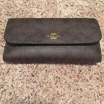 Nwt Brown and Black Coach Wallet With a Check Book Cover. Photo