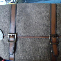 Nwt - Brown Herringbone/leather  Estate Smaller Briefcase Photo