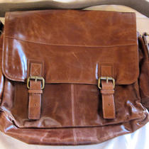 Nwt Brown Leather Fossil  Briefcase Messenger Bag Photo
