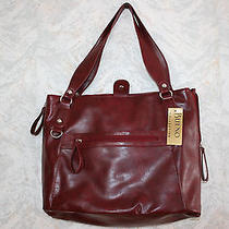 Nwt Bueno Collection Faux Leather Woman's Handbag/computer case.burdundy.snap Photo