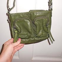Nwt Bueno Dark Green Cross Body Washed Croc Print Leather Purse Messenger Bag Photo