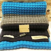 Nwt Burberry Cashmere Blend Blue Multicolor Waffle Stripe Knit Scarf Retail 525 Photo