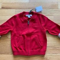 Nwt Burberry Children Military Red Cardigan W/ Nova Check Plaid Cuffs 9m Photo