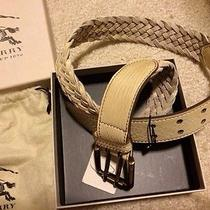 Nwt Burberry London Brit Leather Belt Woven Balkerne 35mm 28/70 S M Women  Photo