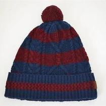 Nwt Burberry Men's Aran Lambwool Cable Knitted Beanie Blue Hat One Size Photo