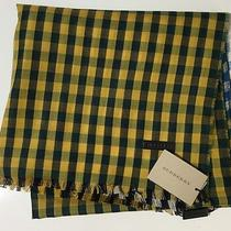 Nwt Burberry Men's Azure Blue/saffron Yellow Cotton/linen Ombre Gingham Scarf Photo