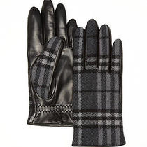 Nwt Burberry Men's Leather Wool Charcoal Gray Nova Check Mittens Gloves Sz 8.5 Photo